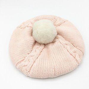 BABY GAP Cable Knit Pompom Beanie Hat Cap Pink White 100% Cotton SZ 12-18M